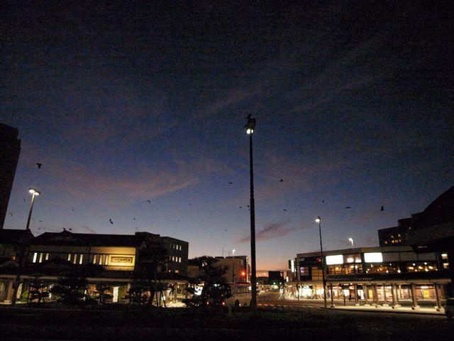 日没とカラス  (新潟県村上市)