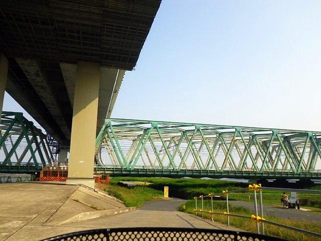 首都高速中央環状線 高架下と総武本線 荒川橋梁