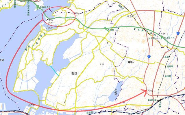 浜松城 石垣の石材産出地と運搬経路(国土地理院)
