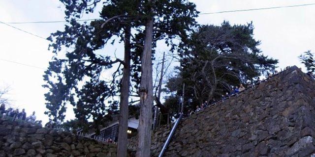 松江城 初日を待つ人々