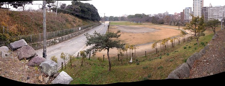 福岡城 伝潮見櫓のある高台から三の丸方向