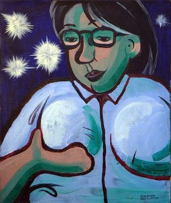 シャツにボールを入れた自画像(1993)