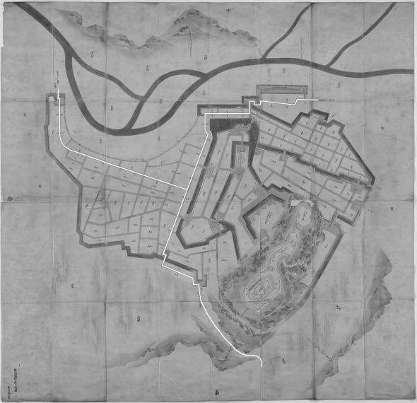 正保城絵図 本道可視化 村上