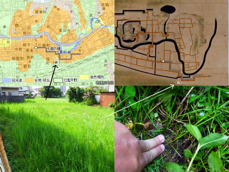 正保城絵図と地形の比較(掛川)および市街地に残る休耕田