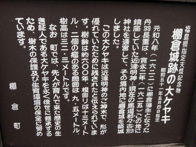 棚倉町跡の大ケヤキ 説明板