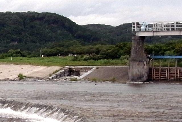 羽村取水堰(投渡堰) 堰の筏通し場跡