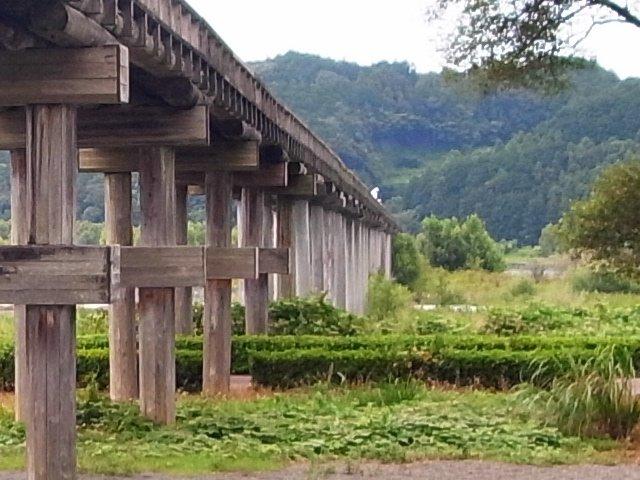 蓬莱橋の橋脚は途中からコンクリ