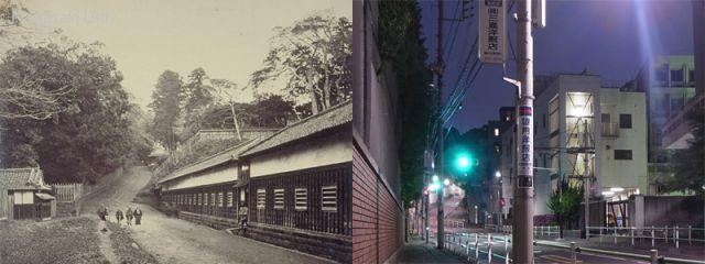 島原藩下屋敷跡(左は古写真)