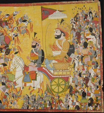 Karna at kurukshetra war,c.1820 painting
