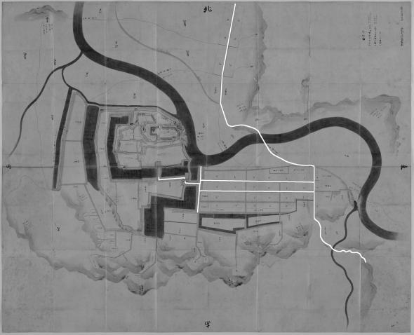 正保城絵図 本道可視化 大洲