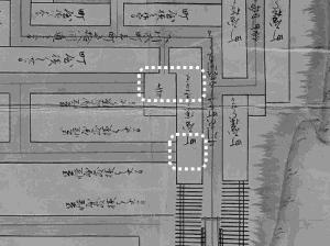 図 3.4.4.14: 道を塞いでいる町屋(南東部分)