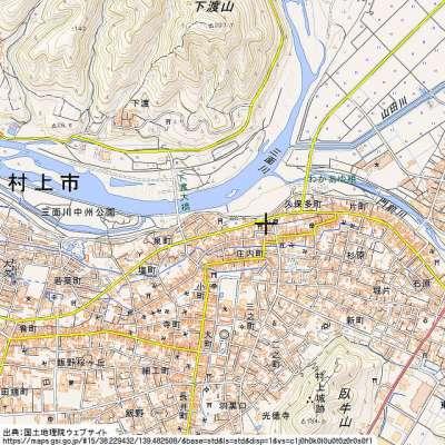 越後村上城 地理院地図