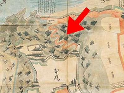 犬山城 古地図の北側登城道
