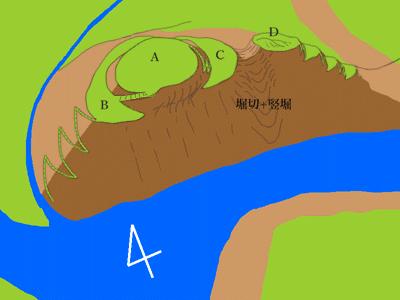 田和城(兵庫県養父市大屋) 概略図