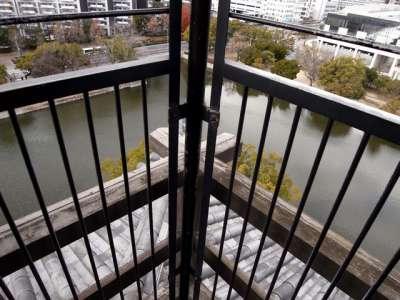 広島城 天守最上階 鉄柵