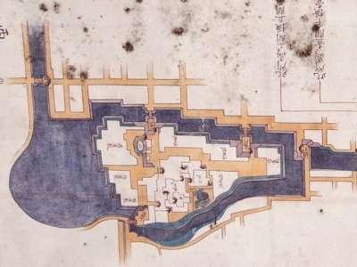福岡城 石垣修復依頼を幕府に出した時の城図