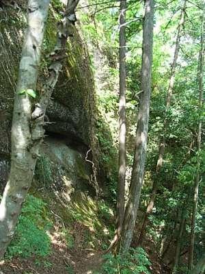 岩殿山城 稚児落とし方面の登山道