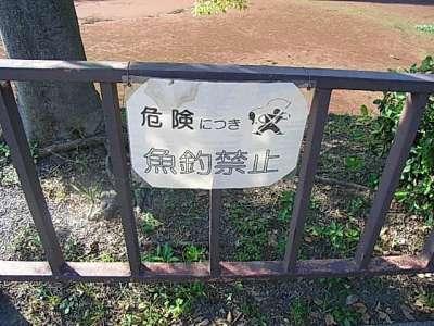 大阪城 釣り禁止貼り紙